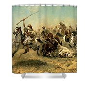 Arab Horsemen On The Attack Shower Curtain by Adolf Schreyer