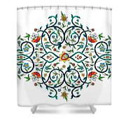 Arabic Floral Ornament Shower Curtain