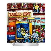 Arachides Depot Candy Shop Painting Rue De L'eglise Verdun Montreal Hockey Art Carole Spandau        Shower Curtain