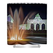 Arcade Du Cinquantenaire Fountain At Night - Brussels Shower Curtain by Barry O Carroll