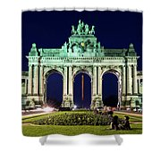Arcade Du Cinquantenaire At Night - Brussels Shower Curtain