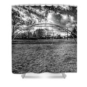 Arch Swing Set In The Park 76 In Black And White Shower Curtain
