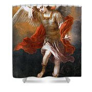 Archangel Michael Hurls The Devil Into The Abyss Shower Curtain
