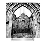 Athassel Priory Tipperary Ireland Medieval Ruins Decorative Arched Doorway Into Great Hall Bw Shower Curtain