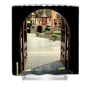 Arched Doorway With A Bavarian View Shower Curtain