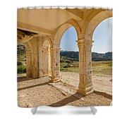 Arches And Stairs Of Derelict Agios Georgios Church Shower Curtain