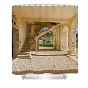Arches, Entrance And Stairs Of Derelict Agios Georgios Church Shower Curtain