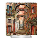 Archetti In Rosso Shower Curtain by Guido Borelli