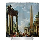 Architectural Capriccio With A Preacher In The Ruins Shower Curtain