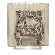Architectural Motif With A Landscape Shower Curtain