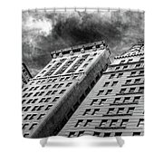 Architecture Tall Buildings Bw Nyc  Shower Curtain