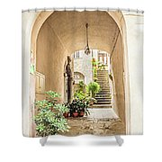 Archway And Stairs In Italy Shower Curtain