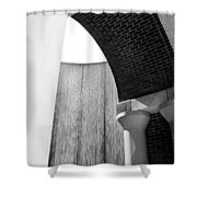 Arcs And Tangents Houston Water Wall In Black And White Shower Curtain