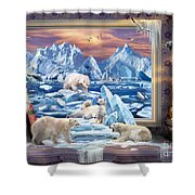 Arctic Bears Coming Shower Curtain