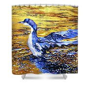 Arctic Loon On Golden Pond Shower Curtain