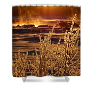 Arctic Sea Smoke Sunrise Shower Curtain