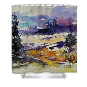 Ardennes Landscape Watercolor Shower Curtain