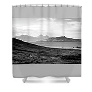 Ardnamurchan Landscape Toward The Islands Of Eigg And Rhum.    Black And White Shower Curtain