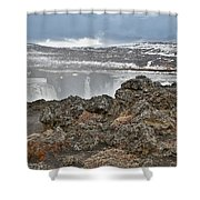Area By Godafoss Waterfalls, Iceland Shower Curtain