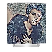 Aretha Franklin Abstract Art Shower Curtain