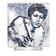 Aretha Franklin Portrait In Blue Shower Curtain