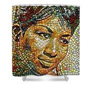 Aretha Franklin Tribute Mosaic Portrait 3 Shower Curtain