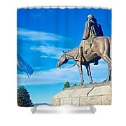 Argentinian Flag And Julio Roca-1843 To 1914-sculpture In Central Park In Bariloche-argentina  Shower Curtain