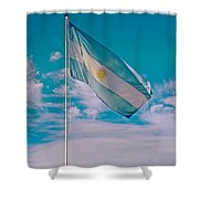 Argentinian Flag In Central Park In Bariloche-argentina  Shower Curtain