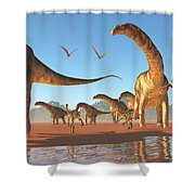 Argentinosaurus Herd Shower Curtain