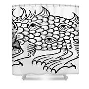 Argus Sea Monster, 1537 Shower Curtain