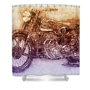 Ariel Square Four 2 - 1931 - Vintage Motorcycle Poster - Automotive Art Shower Curtain