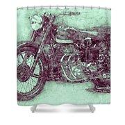 Ariel Square Four 3 - 1931 - Vintage Motorcycle Poster - Automotive Art Shower Curtain