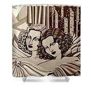 Arielle And Gabrielle In Sepia Tone Shower Curtain