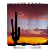 Arizona Lightning Sunset Shower Curtain