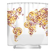 Arizona State University Colors Swirl Map Of The World Atlas Shower Curtain