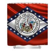 arkansas state seal over flag framed print by serge averbukh