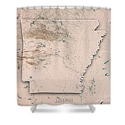 Arkansas State Usa 3d Render Topographic Map Neutral Border Shower Curtain