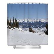 Arkansas Valley From Mount Elbert Colorado In Winter Shower Curtain