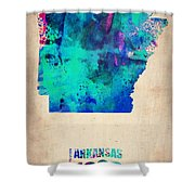 Arkansas Watercolor Map Shower Curtain
