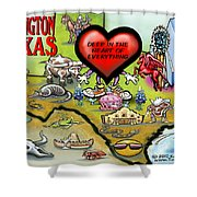 Arlington Texas Cartoon Map Shower Curtain