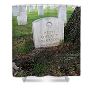 Arlington Tombstone Lodged In Tree Trunk Shower Curtain