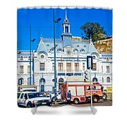 Armada De Chile In Valparaiso-chile  Shower Curtain