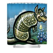 Armadillo N Bluebonnets Shower Curtain