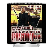 Armageddon Blvd.  Shower Curtain by The Scott Shaw Poster Gallery
