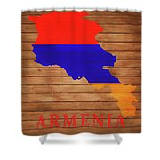 Armenia Rustic Map On Wood Shower Curtain
