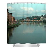 Arno River, Florence, Italy Shower Curtain by Mark Czerniec