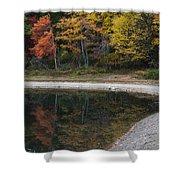 Around The Bend- Hiking Walden Pond In Autumn Shower Curtain