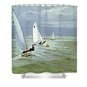 Around The Buoy Shower Curtain by Timothy Easton