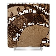 Around The Pond Sepia Shower Curtain