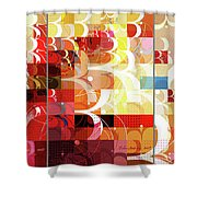 Arraygraphy - Sunset Inferno Triptych Shower Curtain